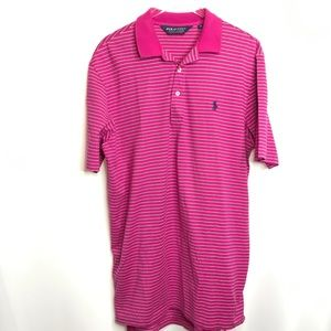 Polo Golf Ralph Lauren Pink Striped Shirt Small
